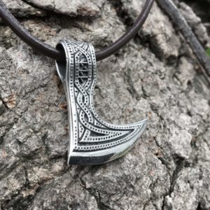 925 Sterling Silver Viking Perun Axe Double Sided Pendant