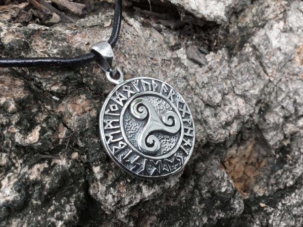 925 Sterling Silver Celtic Triskelion Viking Runes Pendant