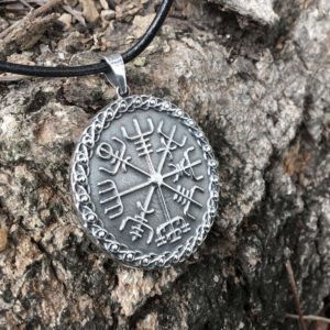 925 Sterling Silver Vegvisir Icelandic Magical Staves Compass Pendant