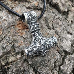 925 Sterling Silver Viking Knotwork Mjolnir Legendary Pendant