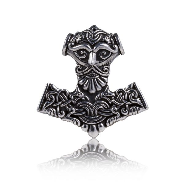925 Sterling Silver Thor Hammer Mjolnir Odin Viking Wolf Fenrir Motif Pendant