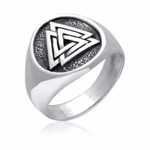 925 Sterling Silver Valknut Icelandic Scandinavian Odin Viking Norse Ring