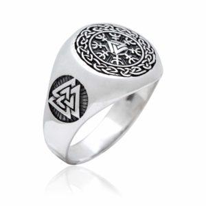 925 Sterling Silver Valknut Viking Helm of Awe Aegishjalmur Ring