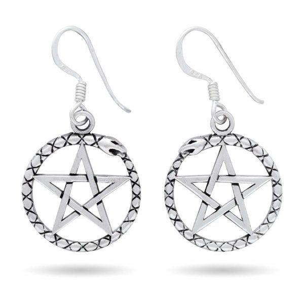 925 Sterling Silver Ouroboros Serpent Dragon Jormungand Pentagram Earrings Set