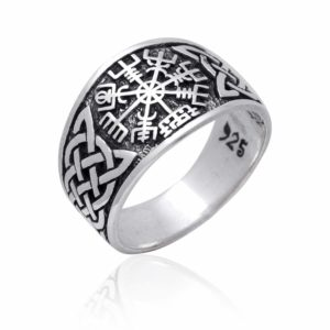 925 Sterling Silver Viking Vegvisir Norse Compass Knotwork Ring