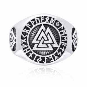 925 Sterling Silver Valknut Icelandic Scandinavian Odin Viking Norse Runes Runic Ring