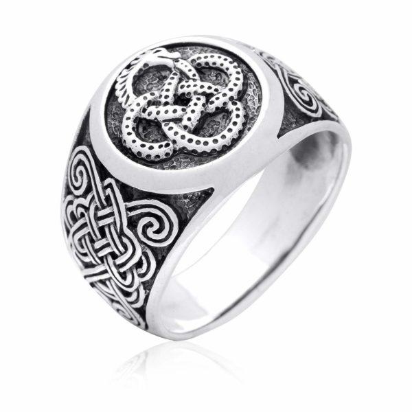 925 Sterling Silver Viking Midgard Jormungand Ouroboros Mammen Ring