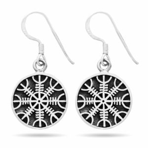 925 Sterling Silver Viking Helm of Awe Earrings Set