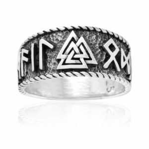 925 Sterling Silver Viking Valknut Runes Legendary Band Ring