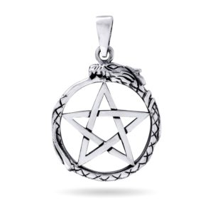 925 Sterling Silver Ouroboros Serpent Norse Dragon Jormungand Pentagram Pendant