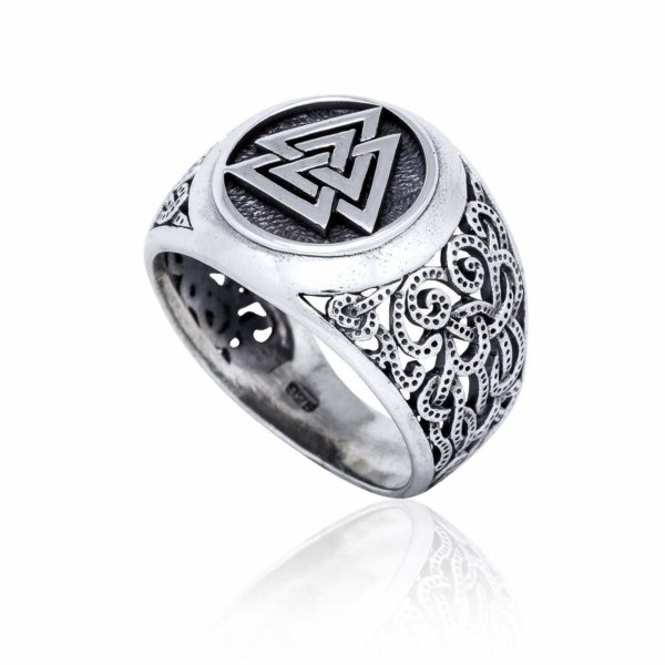 925 Sterling Silver Viking Jewelry Valknut Mammen Style Norse Scandinavian Ring
