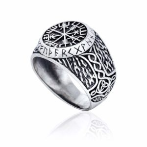 925 Sterling Silver Viking Vegvisir Runes Thor Hammer Handcrafted Ring
