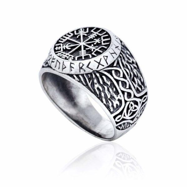 925 Sterling Silver Viking Vegvisir Runes Thor Hammer Handcrafted Ring