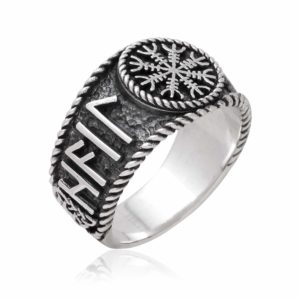 925 Sterling Silver Viking Helm Of Awe Runes Antique Ring