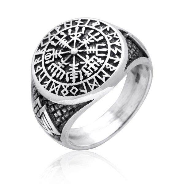 925 Sterling Silver Vegvisir Valknut Runes Viking Jewelry Ring