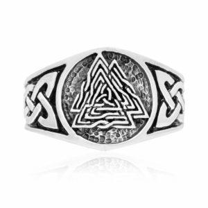 925 Sterling Silver Viking Knotwork Valknut Solid Band Ring