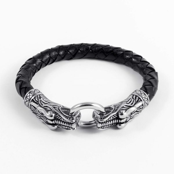 Stainless Steel Viking Jormungand with Braided Leather Bracelet