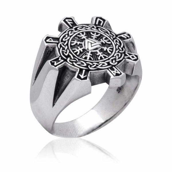 925 Sterling Silver Valknut Aegishjalmur Helm of Awe Viking Runes Celtic Ring