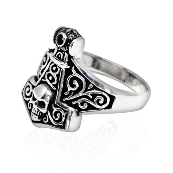 925 Sterling Silver Thor Hammer Mjolnir Viking Norse Skull Gothic Ring