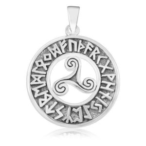 Sterling Silver Celtic Triskele Triskelion Norse Viking Runes Futhark Pendant