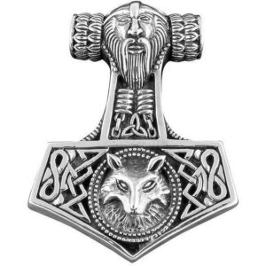 925 Sterling Silver Viking Wolf Thor Hammer Mjölnir Mjolnir Large Pendant 16gr