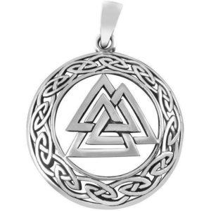 925 Sterling Silver Celtic Infinity Knots Norse Valknut Viking Odin Pendant 7gr