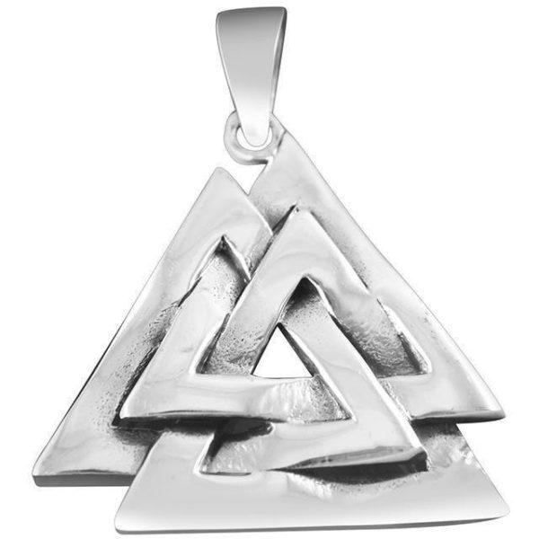 925 Sterling Silver Nordic Norse Valknut Knot Viking Odin Asatru Pagan Pendant