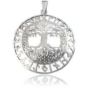 925 Sterling Silver Celtic Tree of Life Nordic Norse Runes Runic Charm Pendant
