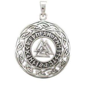 Sterling Silver Celtic Infinity Knots Runes Runic Norse Valknut Viking Pendant