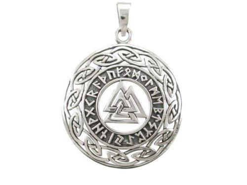 Sterling Silver Celtic Infinity Knots Runes Runic Norse Valknut Viking Pendant