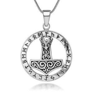925 Sterling Silver Thor Hammer Mjolnir Mjölnir Viking Norse Runes Runic Pendant