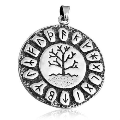 925 Sterling Silver Tree of Life Nordic Norse Runes Runic Round Charm Pendant